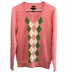Tommy Hilfiger argyle v-neck sweater size medium